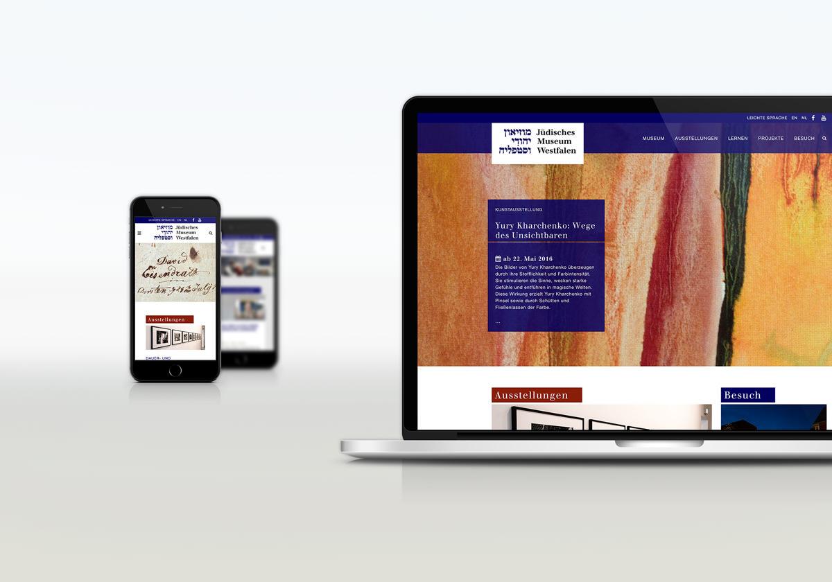 Internetauftritt Jüdisches Museum Westfalen im Reponsive Design